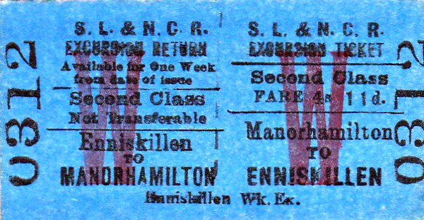 SL&NCR TICKET - MANORHAMILTON - Second Class Weekly Excursion Return to Enniskillen, fare 4s 11d - I presume this ticket would be aimed at people working away from home.