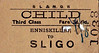 SL&NCR TICKET - ENNISKILLEN - Third Class Child Single to Sligo - fare 3s 6d, overwritten to 4s 6d - dated April 14th, 1954.
