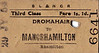 SL&NCR TICKET - DROMAHAIR - Third Class Single to Manorhamilton - fare 1s 1d - dated July 29th, 1954.