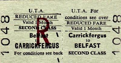 UTA TICKET - CARRICKFERGUS - Second Class Reduced Fare Monthly Return to Belfast.