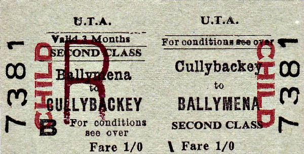 UTA TICKET - CULLYBACKEY - Second Class Child Three Monthly Return to Ballymena - fare 1s.