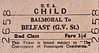 UTA TICKET - BALMORAL - Second Class Child Single to Belfast (Great Victoria Street) - fare 3 1/2d.