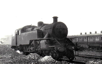 4 - Class WT 2-6-4T, built 1947 by Derby Works - 1948 to UTA - 1968 to NIR - withdrawn 1971 - seen here at Belfast, 06/61.