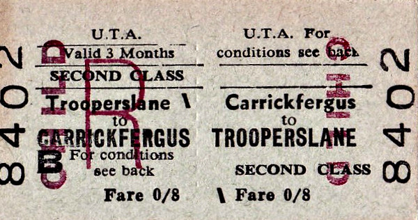 UTA TICKET - CARRICKDERGUS - Second Class Child Three Monthly Return to Trooperslane - fare 8d