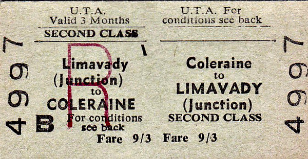 UTA TICKET - COLERAINE - Second Class Three Monthly Return to Limavady Junction - fare 9s 3d.