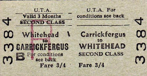 UTA TICKET - CARRICKFERGUS - Second Class Three Monthly Return to Whitehead - fare 3s 4d.