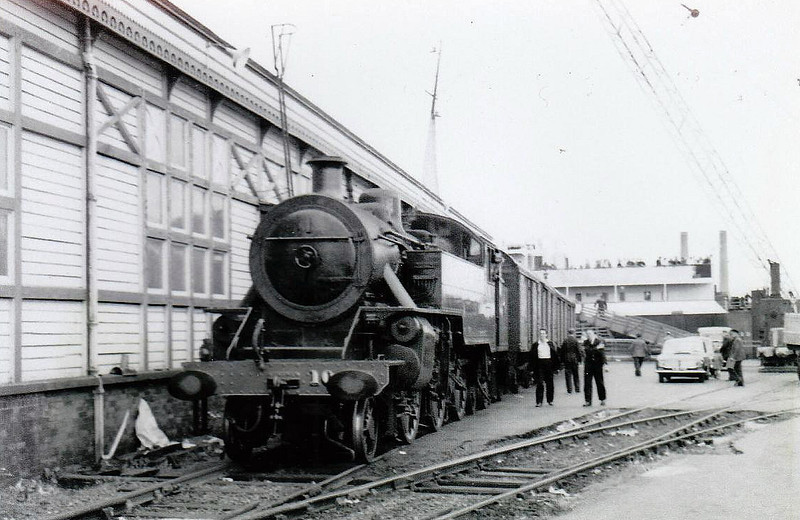10 - NCC Class WT 2-6-4T - built 1947 at Derby Works - 1948 to UTA - 1968 to NIR - withdrawn 1970 - seen here at Larne Harbour.