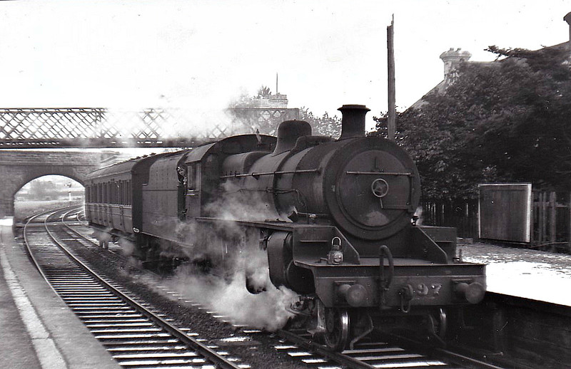 97 EARL OF ULSTER - NCC Class W 2-6-0 - built 1935 from parts supplied by LMS, design based on Fowler 2-6-4T - 1948 to UTA - 1965 withdrawn - seen here at Newtonstewart on a rather humble service.