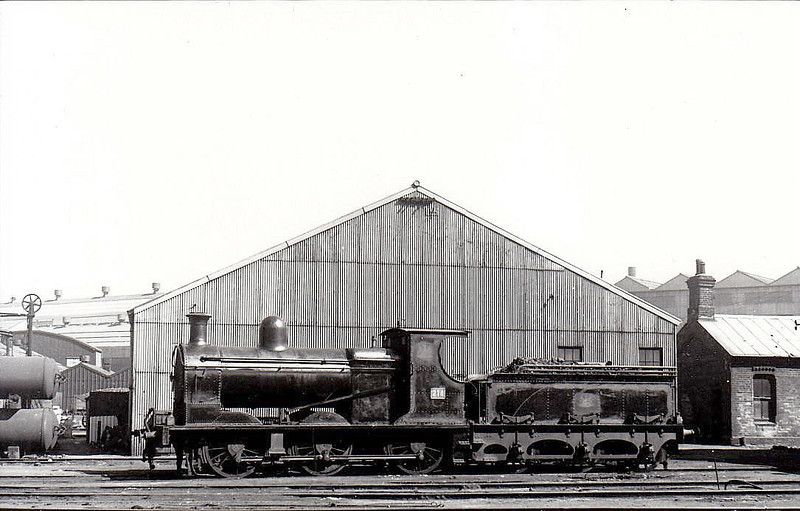 214 - B&CDR 0-6-0, built 1904 by Beyer Peacock as Belfast & County Down Railway No.14 - 1948 to UTA as No.214 - 1952 to store - withdrawn in 1954 - seen here at Belfast Queens Quay in 1950.
