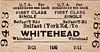 UTA TICKET - BELFAST (York Road) - First Class Single to Whitehead - fare 3s 11d.