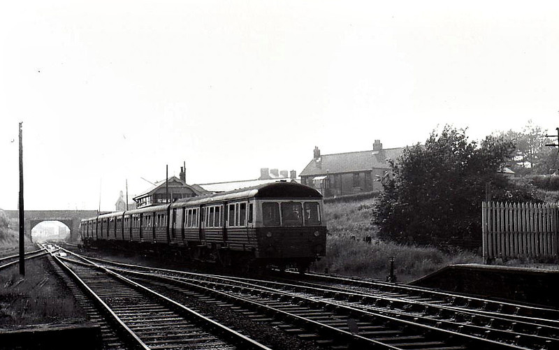 Class MED railcar, 28 built from 1952 (numbered 8 to 35), used in pairs with one or two trailers between them on local services - all withdrawn between 1973 and 1978 - unidentified unit seen here towing 3 trailers with no power car on the after end.