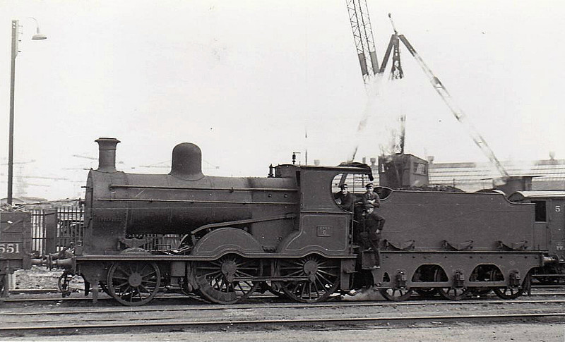 6 - B&CDR 2-4-0, built 1894 by Beyer Peacock - 1943 rebuilt with Belpaire boiler, 1948 to UTA, 1951 placed in store, 1956 withdrawn - seen here at Belfast, 04/48.