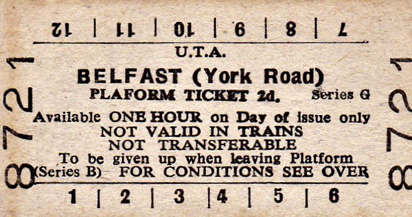 UTA TICKET - BELFAST (York Road) - Platform Ticket, cost 2d - dated May 10th, 1957.