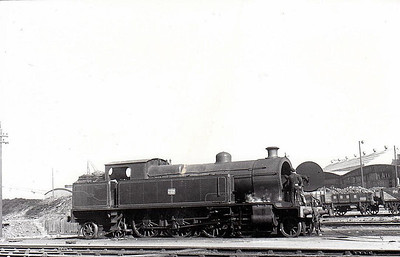 222 - B&CDR 4-6-4T, built 1920 by Beyer Peacock - 1948 to UTA as No.222 - 1953 to store - withdrawn 1956 - seen here at Belfast Queens Quay in 1950.