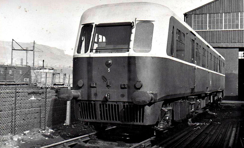Railcar No.5 - single railcar built by Ganz, Budapest, bought second-hand in 1951 - seen here at Belfast York Road - worked with trailer no.215, built in 1953.