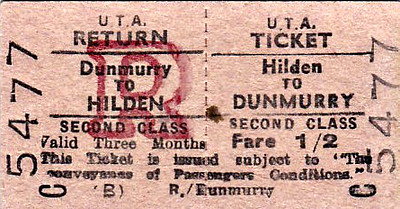 UTA TICKET - HILDEN - Second Class Three Monthly Return to Dunmurry, fare 1s 2d.