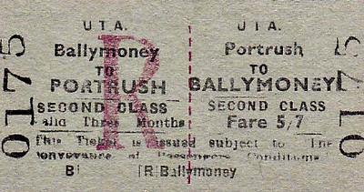 UTA TICKET - PORTRUSH - Second Class Three Monthly Return to Ballymoney, fare 5s 7d.