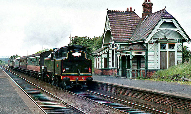 4 - Class WT 2-6-4T, built 1947 by Derby Works - 1948 to UTA - 1968 to NIR - withdrawn 1971 - preserved - seen here at Trooperslane in 1974.