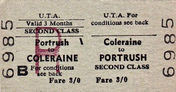 UTA TICKET - COLERAINE - Second Class Three Monthly Return to Portrush - fare 3s.