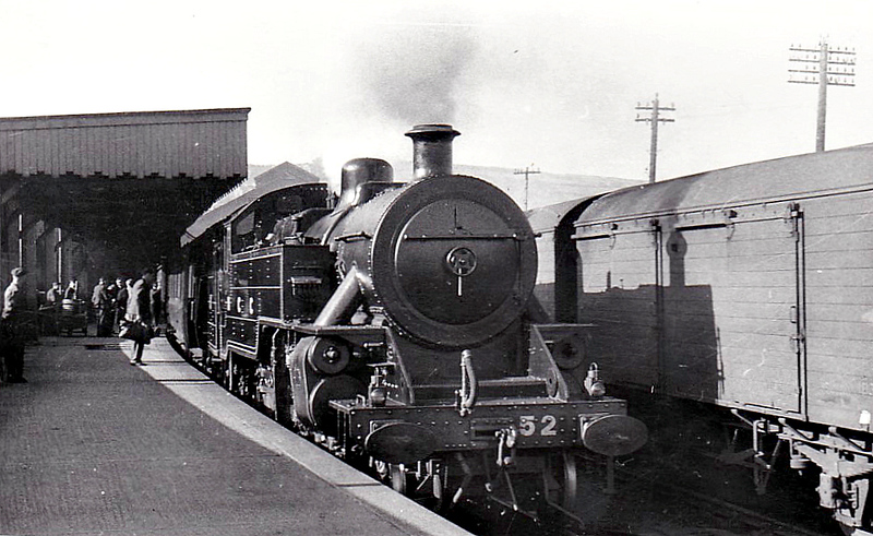 52 - Class WT 2-6-4T, built 1949 by Derby Works - 1968 to NIR - withdrawn 1968 - seen here at Londonderry, 05/50. Although carrying NCC on it's tanks, it was actually delivered after the NCC became the UTA