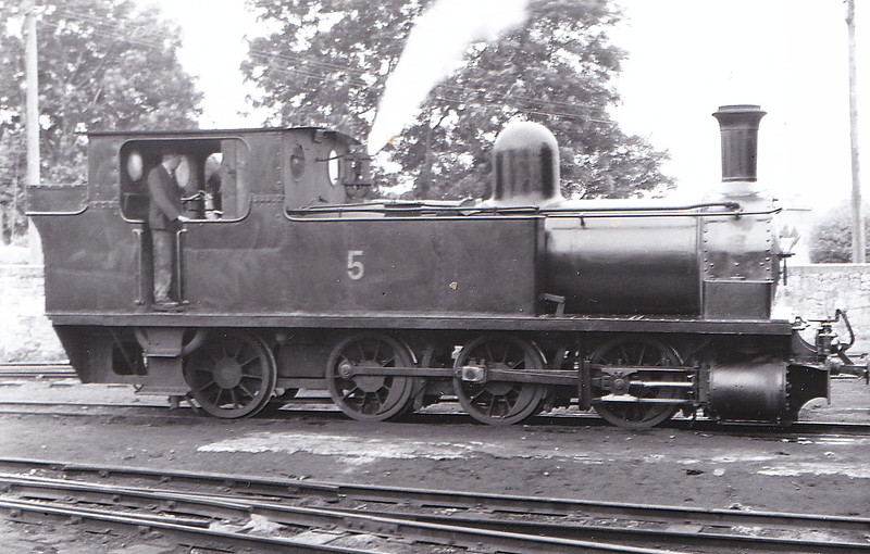 No.5c - 0-6-2T, built 1892 by Dubs & Co., Works No.2890, as WCR No.5 SLIEVE CALLAN - 1925 to GSR as No.5c, 1945 to CIE - withdrawn 1959 - seen here at Ennis, July 1950 - nominally owned by South Clare Railway.
