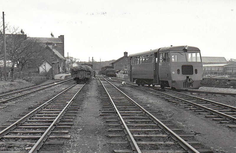 Diesel railcar, one of four built by Walker Brothers of Wigan in 1952, seen here at Kilrush Station - withdrawn 1961 on closure of railway.