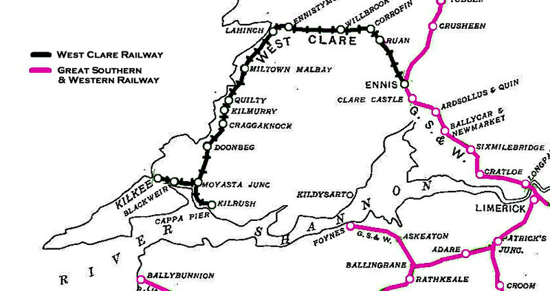 A map of the rather circuitous route followed by the West Clare Railway along the north bank of the Rover Shannon.