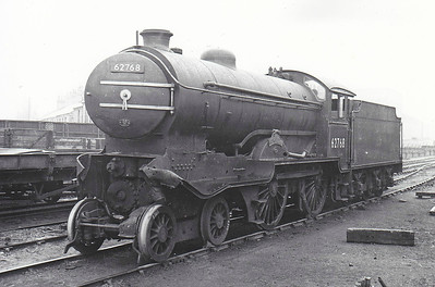 62768 THE MORPETH - Gresley LNER Class D49 4-4-0 - built 12/34 by Darlington Works as LNER No.365 - 11/46 to LNER No.2768, 08/48 to BR No.62768 - 11/52 withdrawn from 52D Starbeck - seen here in the scrapyard at Darlington North Road, 11/52 after being involved in a three engine collision at Dragon Junction, near Starbeck, Leeds, resulting in withdrawal.