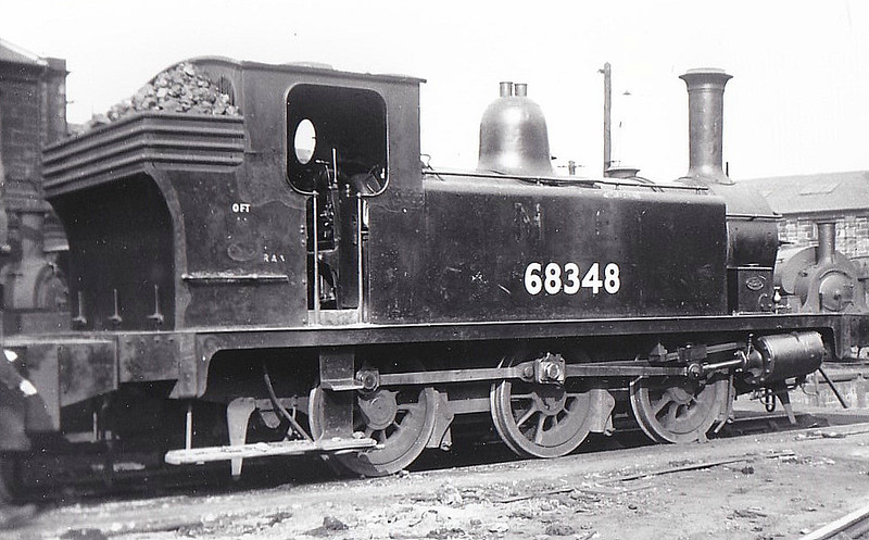 68348 - Reid NBR Class F LNER Class J88 0-6-0T - built 09/19 by Cowlairs Works as NBR No.277 - 03/25 to LNER No.9277, 06/46 to LNER No.8348, 11/49 to BR No.68348 - 08/58 withdrawn from 64A St Margarets, where seen 03/50.