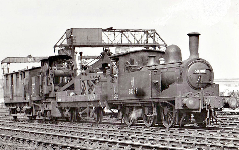 68308 - Worsdell NER Class J71 0-6-0T - built 12/1894 by Darlington Works as NER No.1834 - 05/46 to LNER No.8308, 09/50 to BR No.68308 - 05/58 withdrawn from 51A Darlington, where seen 06/53.