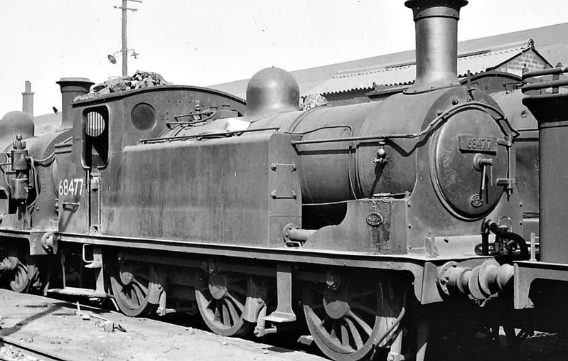 68477 - Holmes NBR Class D LNER Class J83 0-6-0T - built 05/01 by Sharp Stewart Ltd. as NBR No.830 - 04/24 to LNER No.9830, 05/46 to LNER No.8477, 08/49 to BR No.68477 - 12/62 withdrawn from 64A St Margarets, where seen.