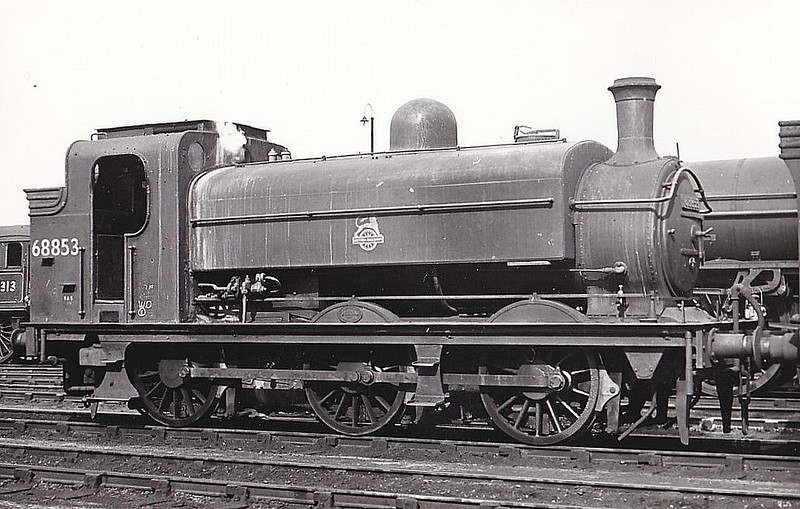 68853 - Ivatt GNR Class J52 0-6-0ST - built 12/01 by Doncaster Works as GNR No.1254 - 06/26 to LNER No.4254, 12/46 to LNER No.8853, 09/48 to BR No.68853 - 07/56 withdrawn from 36A Doncaster, where seen 09/53.
