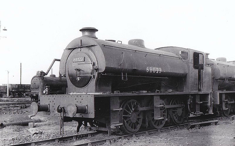 68023 - Riddles WD Austerity 0-6-0ST - built 06/44 by Robert Stephenson & Hawthorn Ltd. as WD No.75190 - 07/46 to LNER No.8023, 07/49 to BR No.68023 - 05/65 withdrawn from 51A Darlington - seen here at Newport in 1956.