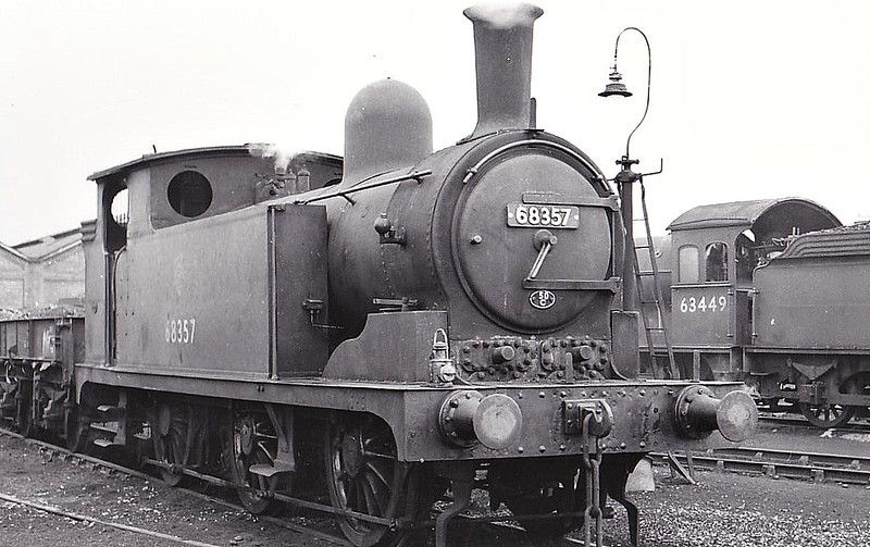 68357 - Worsdell NER Class L LNER Class J73 0-6-0T - built 03/1892 by Gateshead Works as NER No.546 - 05/46 to LNER No.8357, 08/48 to BR No.68357 - 01/58 withdrawn from 50C Selby, where seen 05/57.