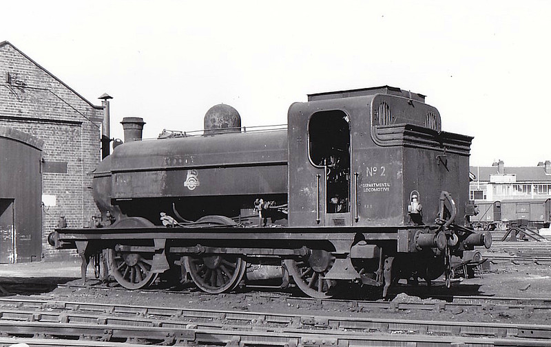 Departmental No.2 - Ivatt GNR Class J52 0-6-0ST - built 01/1899 by Robert Stephenson & Hawthorn Ltd.. as GNR No.1217 - 07/27 to LNER No.4217, 10/46 to LNER No.8816 - 05/50 withdrawn from 35B Grantham - to Departmental No.2 - 03/56 withdrawn - seen here at Doncaster Works.