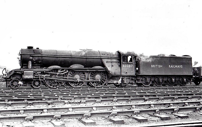 60087 BLENHEIM - Gresley LNER Class A3 4-6-2 - built 06/30 by Doncaster Works as LNER No.2598 - 10/46 to LNER No.87, 10/48 to BR No.60087 - 10/63 withdrawn from 64A St Margarets - seen here at Dundee, 08/54.