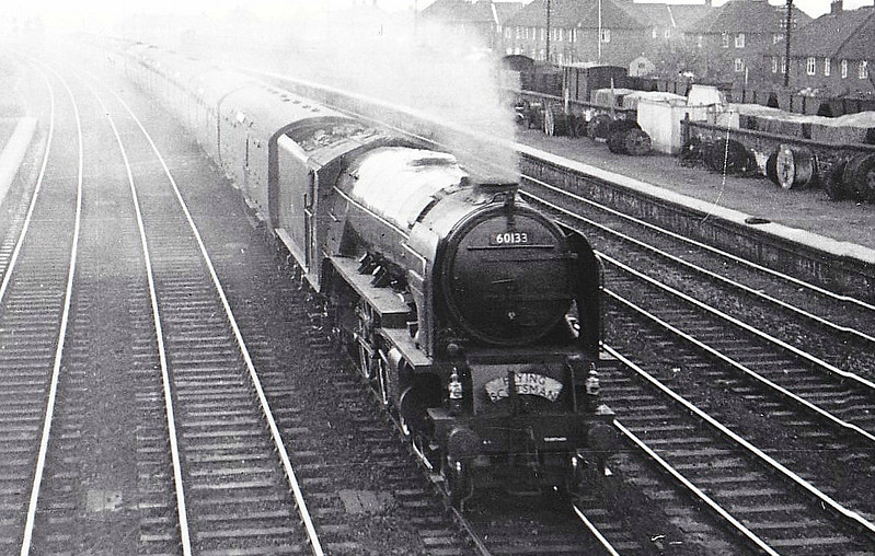 60133 POMMERN - Peppercorn Class A1 4-6-2 - built 10/48 by Darlington Works - 06/65 withdrawn from 37A Ardsley - seen here passing York Racecourse Station, 04/50.