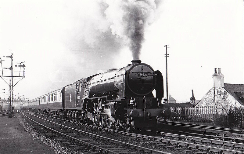 60525 A.H. PEPPERCORN - Peppercorn LNER Class A2 4-6-2 - built 12/47 by Doncaster Works as BR No.525 - 08/49 to BR No.60525 - 03/63 withdrawn from 61B Aberdeen Ferryhill, where seen 06/55.