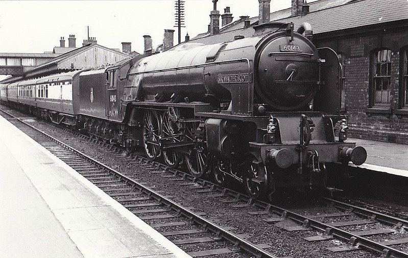 60143 SIR WALTER SCOTT - Peppercorn Class A1 4-6-2 - built 02/49 by Doncaster Works - 05/64 withdrawn from 50A York North - seen here at Grantham, 1952.