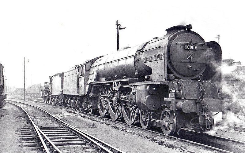 60119 PATRICK STIRLING - Peppercorn Class A1 4-6-2 - built 11/48 by Doncaster Works - 05/64 withdrawn from 36A Doncaster - seen here at York, 05/63.