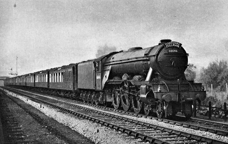 60046 DIAMOND JUBILEE - Gresley LNER Class A3 4-6-2 - built 08/24 by Doncaster Works as LNER No.2545 - 07/46 to LNER No.46, 08/49 to BR No.60046 - 06/63 withdrawn from 34F Grantham - seen here on the 'Yorkshire Pullman'.