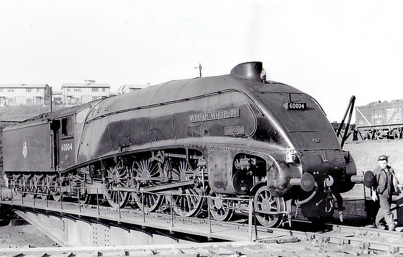 60004 WILLIAM WHITELAW - Gresley LNER Class A4 4-6-2 - built 12/37 by Doncaster Works as LNER No.4462 - 06/41 original name GREAT SNIPE removed, 08/46 to LNER No.4, 05/48 to BR No.60004 - 10/66 withdrawn from 61B Aberdeen Ferryhill - seen here at Eastfield.