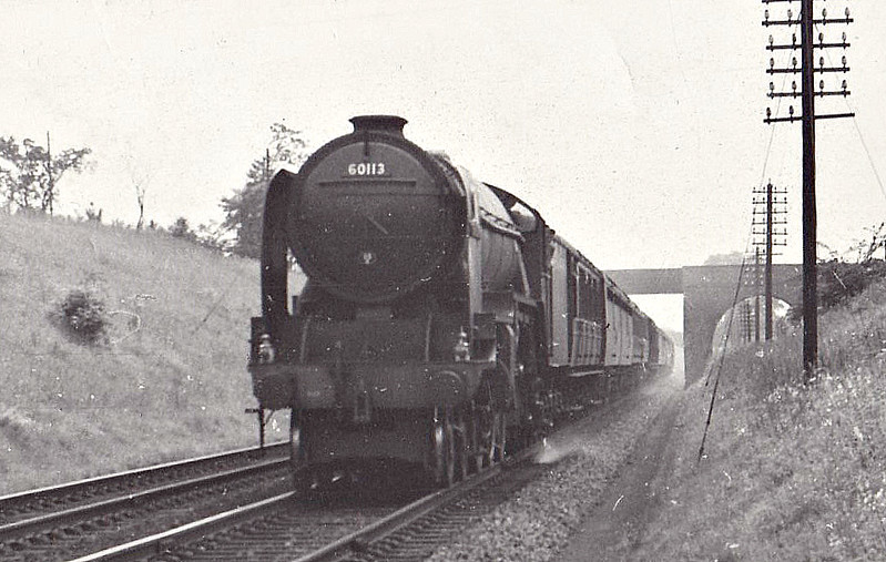 60113 GREAT NORTHERN - Gresley 4-6-2 - built 04/22 by Doncaster Works as GNR No.1470- 03/25 to LNER No.4470 - 1945 rebuilt by Thompson as Class A2/2 - 10/46 to LNER No.113, 10/48 to BR No.60113 - 11/62 withdrawn from 36A Doncaster - seen here at Croft Spa.