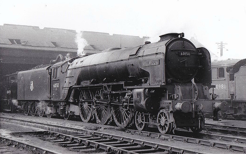 60150 WILLBROOK - Peppercorn Class A1 4-6-2 - built 06/49 by Darlington Works - 10/64 withdrawn from 50A York North - seen here at Haymarket.