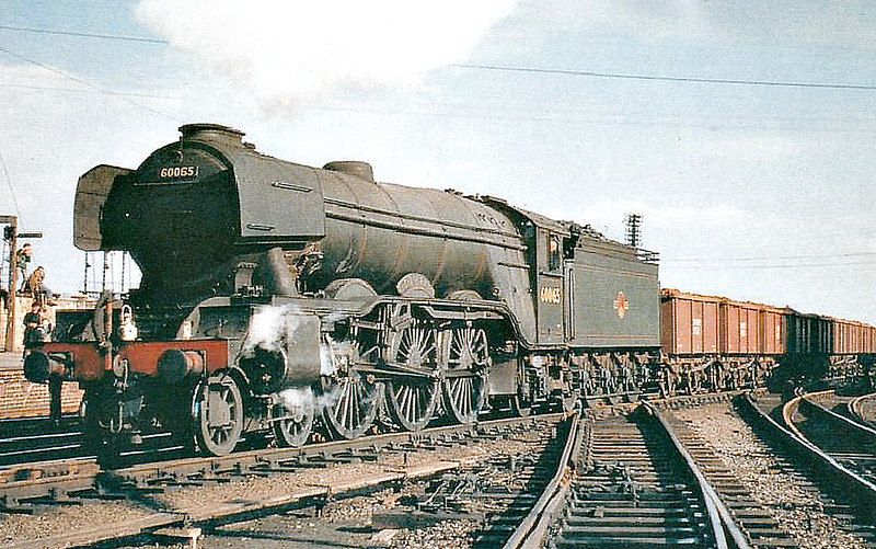 60065 KNIGHT OF THE THISTLE - Gresley LNER Class A3 4-6-2 - built 07/24 by North British Loco Co. as LNER No.2564 - 10/46 to LNER No.65, 07/48 to BR No.60065 - 06/64 withdrawn from 34E New England - seen here at Retford.