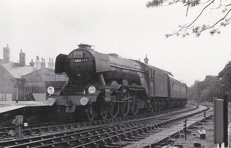 60112 ST SIMON - Gresley LNER Class A3 4-6-2 - built 09/23 by Doncaster Works as GNR No.1481 - 08/25 to LNER No.4481, 05/46 to LNER No.112, 01/48 to BR No.60112 - 12/64 withdrawn from 34E New England - seen here at Hamworthy Junction heading the 'Southern Counties Enterprise' rail tour, 25/08/63.