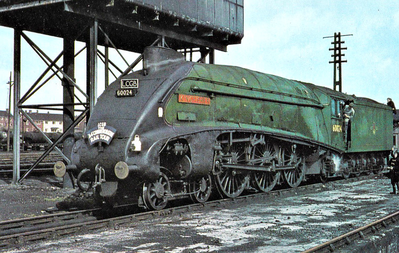 60024 KINGFISHER - Gresley LNER Class A4 4-6-2 - built 12/36 by Doncaster Works as LNER No.4483 - 05/46 to LNER No.24, 06/48 to BR No.60024 - 03/66 withdrawn from 61B Aberdeen Ferryhill - seen here at Exmouth Junction on the A4 Preservation Society 'A4 Commemorative Rail Tour', 27/03/66. 60024 provided power throughout from Waterloo - Exeter St. Davids - Waterloo.