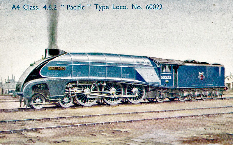 60022 MALLARD - Gresley LNER Class A4 4-6-2 - built 03/38 by Doncaster Works as LNER No.4468 - 09/46 to LNER No.22, 03/48 to BR No.60022 - 04/63 withdrawn from 34A Kings Cross - preserved by NRM.