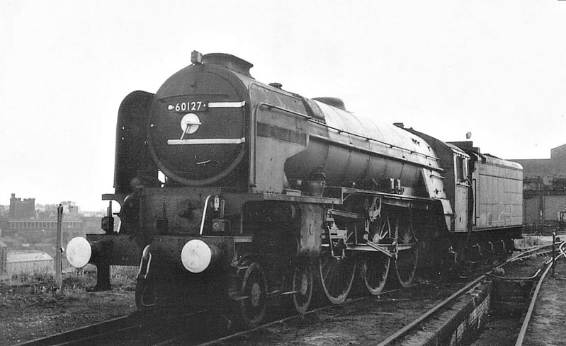 60127 WILSON WORSDELL - Peppercorn Class A1 4-6-2 - built 05/49 by Doncaster Works - 06/65 withdrawn from 52A Gateshead, where seen, near to withdrawal.