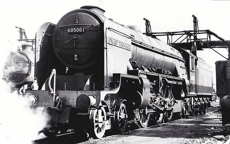 60500 EDWARD THOMPSON - Thompson LNER/BR Class A2 4-6-2 - built 05/46 by Doncaster Works as LNER No.500 - 10/49 to BR No.60500 - 06/63 withdrawn from 34E New England, where seen 04/60.